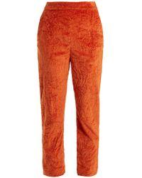 Isa Arfen - Slim Leg Crushed Velvet Cotton Blend Trousers - Lyst