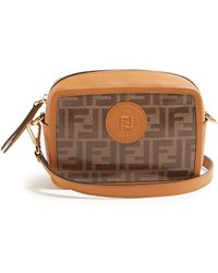 83898a4834 Lyst - Fendi double F Mini Coated Canvas   Leather Shoulder Bag in Red