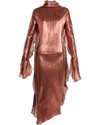Paula Knorr - Relief Waterfall Ruffled Silk Blend Lamé Dress - Lyst