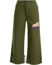 Bliss and Mischief | Sunset-embroidered Cropped Cotton-drill Trousers | Lyst