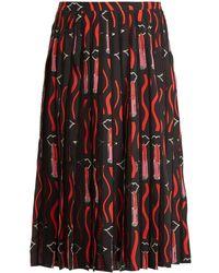 Valentino   Lipstick-print Silk-crepe Midi Skirt   Lyst