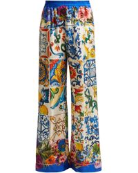 Dolce & Gabbana - Majolica And Floral Print Silk Twill Trousers - Lyst