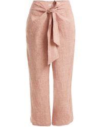 MASSCOB - Tie-waist Straight-leg Linen Trousers - Lyst