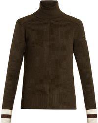 Moncler | Contrast-cuff Roll-neck Wool Jumper | Lyst