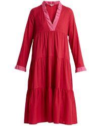 DAFT - V-neck Contrast Dress - Lyst