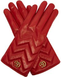 Gucci - Gg Marmont Chevron Quilted Leather Gloves - Lyst