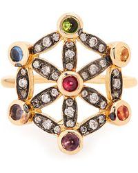 Noor Fares | Diamond, Multi-stone & Yellow-gold Pinky Ring | Lyst
