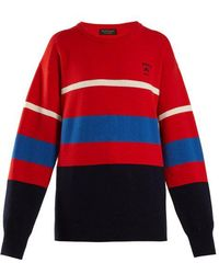 Burberry - Logo-embroidered Striped Wool Sweater - Lyst