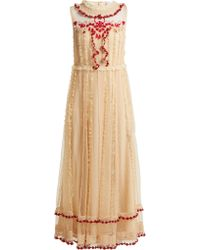 RED Valentino - Ruffle Trimmed Lace Dress - Lyst