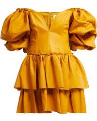 Aje. - Castellain Sweetheart Neck Leather Mini Dress - Lyst