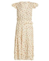 Sea - Margaux Floral-print Ruffle-trimmed Cotton Dress - Lyst