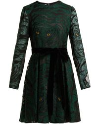 Valentino - Animal Eye And Print Embroidered Tulle Dress - Lyst