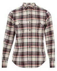 Saint Laurent - Western Checked Cotton-blend Shirt - Lyst