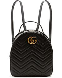 91702eb785af Gucci - Black GG Marmont Quilted Chevron Backpack - Lyst