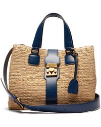 Mark Cross - Riviera Medium Raffia And Leather Tote - Lyst