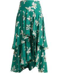 Isa Arfen   Tiered Magnolia-print Silk Skirt   Lyst