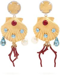 Dolce & Gabbana - Crystal-embellished Shell-drop Clip On Earrings - Lyst