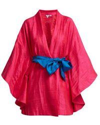 Rhode Resort - Sitara Slub-silk Robe - Lyst