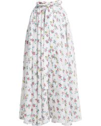 Emilia Wickstead - Evelyn Floral Print Linen Maxi Skirt - Lyst