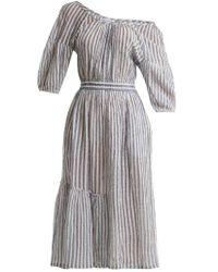 Apiece Apart - Camellia One-shoulder Striped-cotton Dress - Lyst