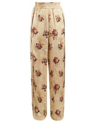 Golden Goose Deluxe Brand - Floral-print Wide-leg Satin Trousers - Lyst