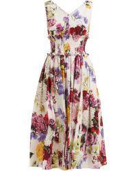 Dolce & Gabbana - Rose And Hydrangea Print Cotton Poplin Midi Dress - Lyst