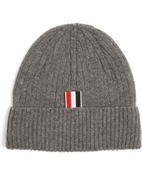 Thom Browne - Striped-detail Ribbed-knit Cashmere Beanie Hat - Lyst