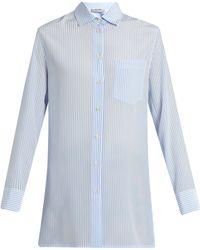 Valentino - Cowl-back Striped Silk Shirt - Lyst
