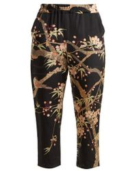 By Walid - Morton Cherry Blossom-print Silk Cropped Trousers - Lyst