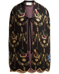Gucci - Voliére Wool Blend Jacquard Cape - Lyst