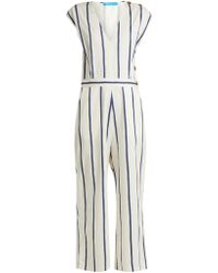 M.i.h Jeans - Elm Striped Stretch Cotton Jumpsuit - Lyst