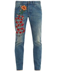 Gucci - Snake And Flower-embroidered Tapered-leg Jeans - Lyst