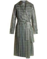 Wanda Nylon - Tie-waist Coated-tartan Trench Coat - Lyst