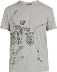 b7ff6507 Alexander McQueen Skeleton Arm T-shirt in Gray for Men - Lyst