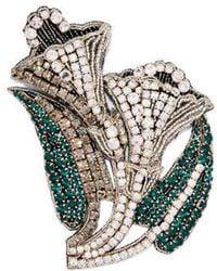 Rochas - Crystal-embellished Lily Brooch - Lyst