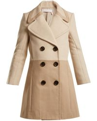 See By Chloé | Contrast-panel Wool-blend And Twill Coat | Lyst