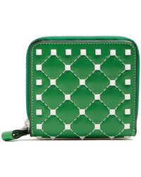 Valentino - Rockstud Spike Zip Around Leather Wallet - Lyst