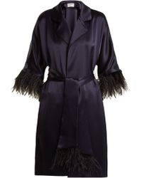 OSMAN - Eve Feather-trimmed Satin Coat - Lyst