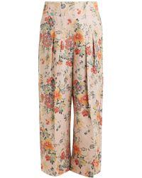 Rebecca Taylor - Floral-print Wide-leg Cotton-blend Trousers - Lyst