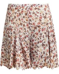 Chloé - Floral Print Scallop Edge Tiered Georgette Shorts - Lyst