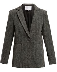 FRAME - Single Breasted Herringbone Velvet Blazer - Lyst