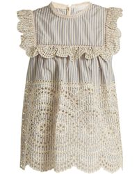 Zimmermann   Meridian Striped Broderie-anglaise Cotton Top   Lyst