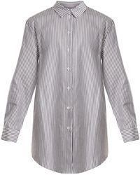 Asceno - Point-collar Striped Silk-crepe Shirtdress - Lyst