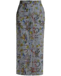 Vivienne Westwood Anglomania - Gingham And Print Pencil Skirt - Lyst