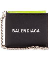 Balenciaga - Logo Embossed Bi Fold Leather Wallet - Lyst