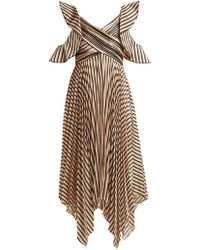 Self-Portrait Asymmetric Striped Satin Dress