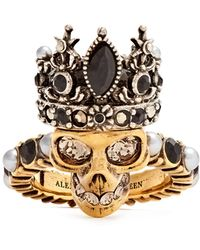 Alexander McQueen | Queen Skull Crystal And Pearl-embellished Ring | Lyst