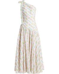 Emilia Wickstead Simone One Shoulder Linen Maxi Dress