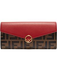 Fendi - F Is Continental Leather Wallet - Lyst