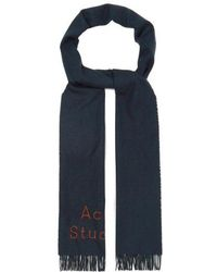 Acne Studios - - Logo Embroidered Fringed Wool Scarf - Mens - Navy - Lyst